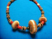 Vintage Gold Tone Red Coral Jade Asian Rondelle Beaded Necklace
