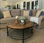 Rustic Round Coffee Table With Reclaimed Wood Top And Iron Shelf For Living Room