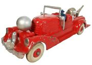 Hubley Early 20th C Vint Red/slvr Enml Diecast Fire Engine W/white Rubber Wheels