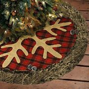4xchristmas Tree Skirt 36 Inches Large Burlap Plaid Snowflake With Thick Faux