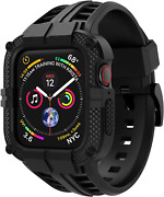 For Apple Iwatch Band 44mm Series 4 6/5/se Tpu Rugged Sports Band With Case New