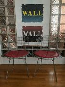 2 Authentic Vintage Knoll Harry Bertoia Side Chairs Chrome W/ Red Cushion