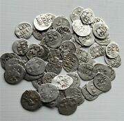 1533-1547 Russia Ivan Iv The Terrible Wire Patina 10 Coins Denga Silver
