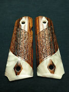 Cocobolo And Pearl 1911 Grips Engraved Textured 5