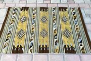Zapotec 50x79andrdquohand Woven Organic Dyed Brown Geometric Pattern Wool Tapestry Rug