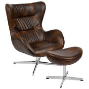 Retro Bomber Jacket Leather Swivel Wing Back Chair With Ottoman And Aluminum Base