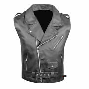 Menand039s Classic Leather Motorcycle Biker Concealed Carry Side Laces Vest Black
