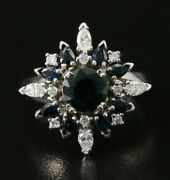 New / House Of Faberge 1986 / Northern Star Diamond And Blue Sapphire Ring / 18k