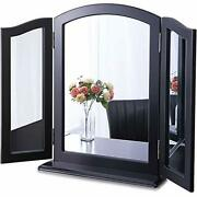 Large Black Trifold Mirror W/ Detachable Base, Wood Table Countertop/ Wall Mir..