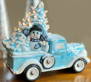 Ceramic Bisque Hand-painted Christmas Snowman Tree Jalopy Truck