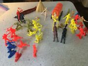 Vintage Lot Of Plastic Western Toy Cowboys Indians Horses Tepees Wagon Coach A2