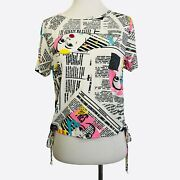 Occasion Graphic Top White Pink Aqua Black Newsprint Pullover Juniors Size Large