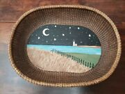 Nantucket Basket Large Oval Tray Hand Painted Lighthouse Cape Cod Wood