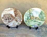 Artist Signed 2 Ceramic Wall Plates Handpainted Panoramic Scene Landscape Mexico