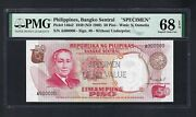 Philippines 50 Piso Nd1969 P146s2 Specimen Perforated Uncirculated Grade 68