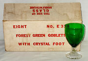 8 Anchor Hocking Bubble Green 5 1/2 - 9 Oz Water Goblets W/box
