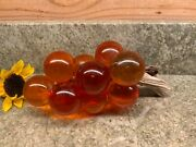 Vintage Large Amber Resin Lucite Grape Cluster On Drift Wood Branch Mid Century