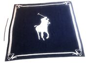 """Polo By Logo Wool Blanket Reversible 62"""" X 57"""" Navy And Cream Vtg"""