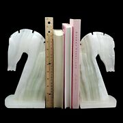 Onyx Marbled White Stone Trojan Horse Head Equestrian Bookends Chess Knight 10.5