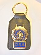 Nyc P0lice Dept. Dea Detective Brass And Leather Key Ring.