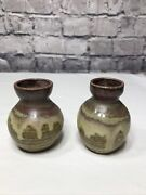 """2 Small Brown Burgundy And Green Clay Pottery Bud Vases Southwest Decor 3.25"""" Tall"""