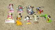 Lot Of 9 Authentic Disney Trading Pins Mickey Minnie Mouse Pluto Goofy