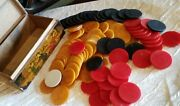 Vintage Swirl Art Deco Bakelite Catalin Poker Chips 96 Red- Butterscotch And Green