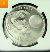 Be2543//2000 Thailand Silver 50 Baht Year Of The Dragon Ngc Pf69