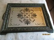 Large Wood And Mirrored Serving Tray Or Art Piece Mirror 28 X 20 Brass Handles