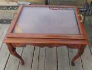 Carved Walnut Coffee Table With Glass Serving Tray Rp-ct155