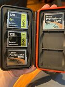 4 Lexar Cfast 2.0 Memory Cards - 3 128 Gb And 1 256 Gb And Case Free Shipping
