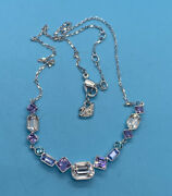 Silver Tone Elegant Clear Purple Blue Crystal Signed Choker Necklace