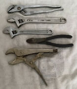Vintage Usa Made Craftsman Adjustable Wrenches Locking Pliers Side Cutters