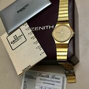 Vintage Swiss Gold Plated Zenith Watch From 1987 With Original Box