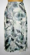Coldwater Creek Full Silk Skirt Blue Floral Gauze Pleated Long Plus Size 1x 65