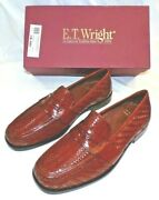 New E T Wright Italian Mens Tuscany Tan Weave Leather Loafer Slip On Shoes Sz 13