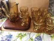 Indiana Glass Vintage Amber Heavy Thumbprint Goblets 5inch With Pitcher Set Of 8