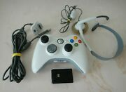 Microsoft Xbox 360 White Wireless Controller+charging Cable+mic Headset+battery