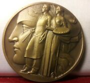 1937 Rare French Exposition Arts Et Techniques 68mm Art Medal By Turin