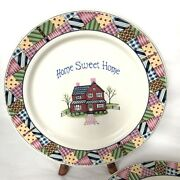 Stoneware Dinner Plate 10.5 Home Sweet Home Farmhouse Replacement Piece Set Of 3