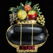 Corocraft Sterling Gold Pave And Enamel Jelly Belly Fruit Basket Pin Clip