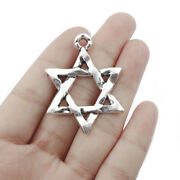 5pcs Antique Silver Open Star Of David Charms Pendant For Jewelry Making 3345mm