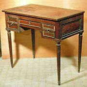 Antique 19th Century French Louis Xvi Fluted Leg Kneehole Writing Desk