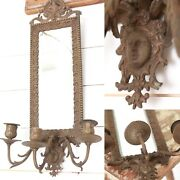 Antique 1800s Brass Bronze Beveled Candle Mirror Ornate Victorian Early Sconce