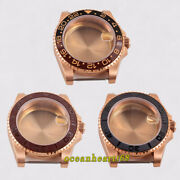 40mm Rose Gold Watch Case Rotate Bezel Sapphire Crystal Fit 2824 2836 Movement