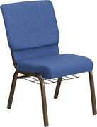 10 Pack 18.5and039and039 Wide Blue Fabric Church Chair With Book Rack And Gold Vein Frame