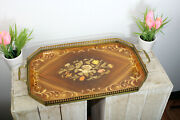 Vintage French Wood Inlaid Serving Tray 1970