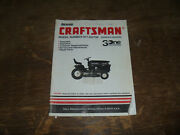 Sears Craftsman 917.252700 Lawn Tractor 3one Operator Maintenance Parts Manual