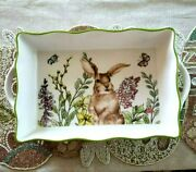Grace Teaware Spring Floral Butterfly Rabbit Scalloped Casserole New Fast Ship