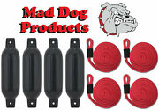 4 Black 6.5 X 23 Inflatable Boat Fender Buoys And 4 Red Lines - Made In Usa